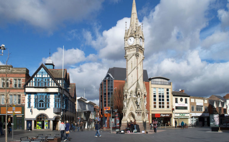 Clock tower in Leicester city centre